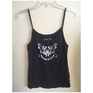 Lucky Brand Tank sz. Large Black- Embroidered